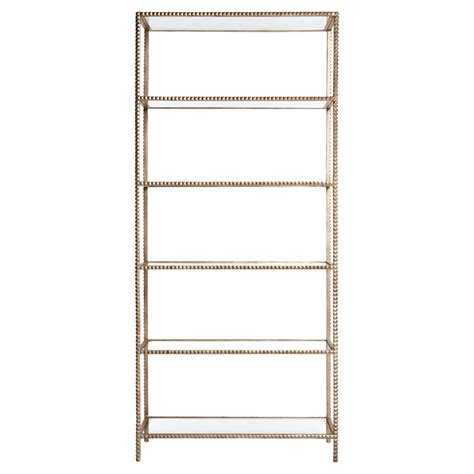 modern gold stud edged etagere display bookcase