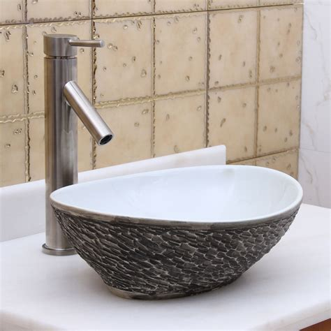 kitchen vessel sink elite 1574 oval gray and white porcelain ceramic bathroom
