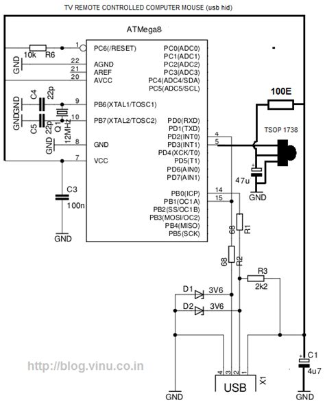 transistor controller or keyboard pc mouse with tv remote microcontroller project circuit