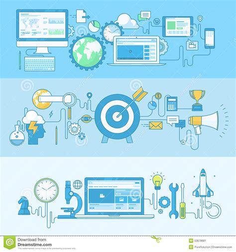 design concept elements set of line concept banners for web development business