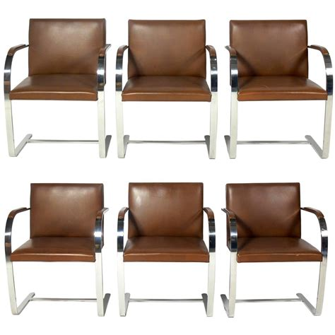 Chrome Leather Dining Chairs Set Of Six Knoll Brno Chrome And Leather Dining Chairs At 1stdibs