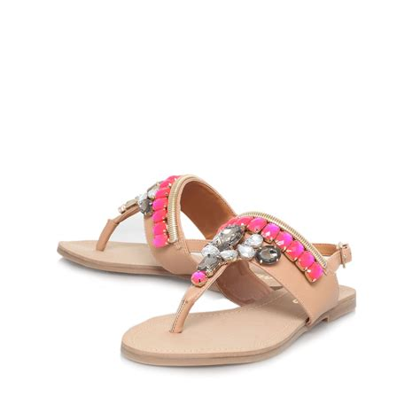 flat embellished sandals miss kg davina flat embellished sandals in brown lyst