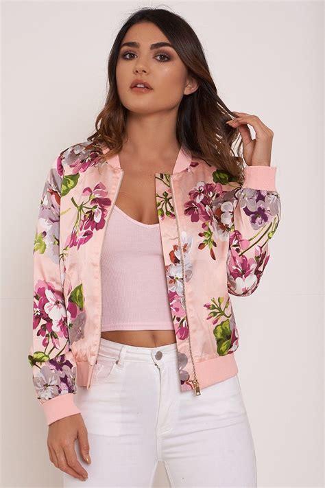Floral Jacket flower bomb floral bomber jacket pink coats jackets