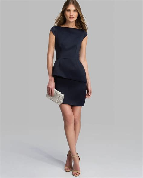 dress cap sleeve tiered pencil skirt in blue lyst