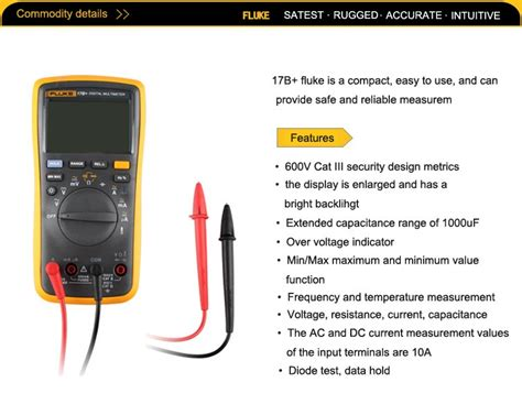 17b Fluke Digital Multimeter Ac Voltage 400mv To 1000v other electrical test equipment fluke 17b f17b