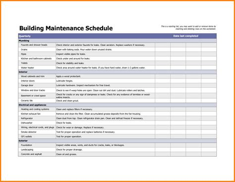 preventive maintenance schedule template excel vertola