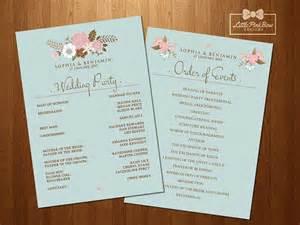 wedding program order mint floral wedding program printable wedding names