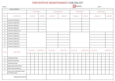 maintenance checklist template maintenance checklist template 10 daily weekly