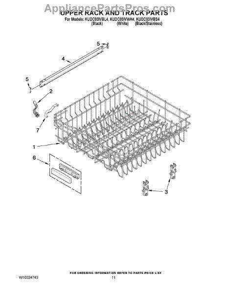 Kitchenaid Dishwasher Rack Parts by Parts For Kitchenaid Kudc03ivbl4 Rack And Track