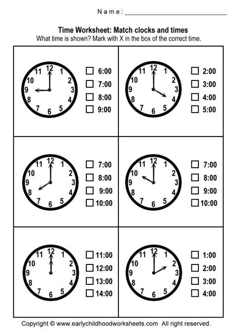printable telling time sheets free matching clocks and time worksheets worksheet 1