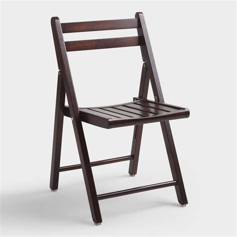 espresso wood folding chairs set   world market