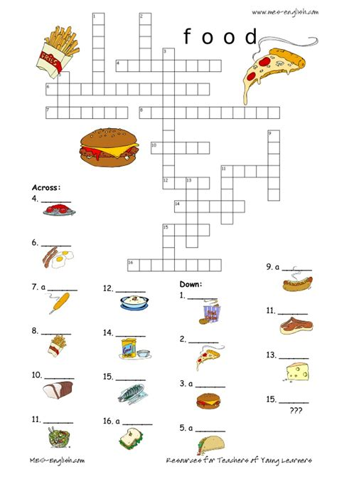 easy crossword puzzles about food food crossword 8
