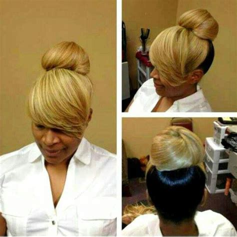 swoop ponytail hairstyles 2toned bun bangs all black for me please i love