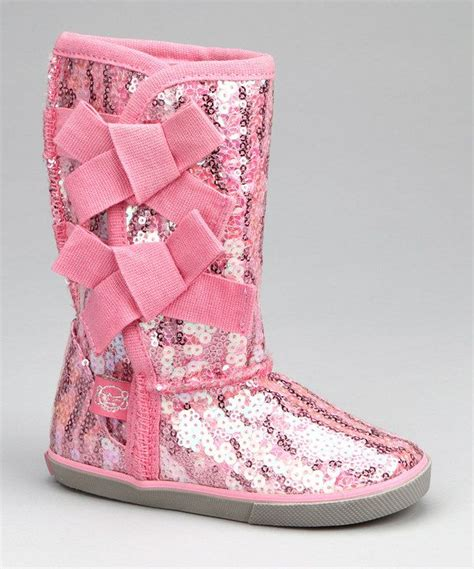 pink rocker sequin bow boot