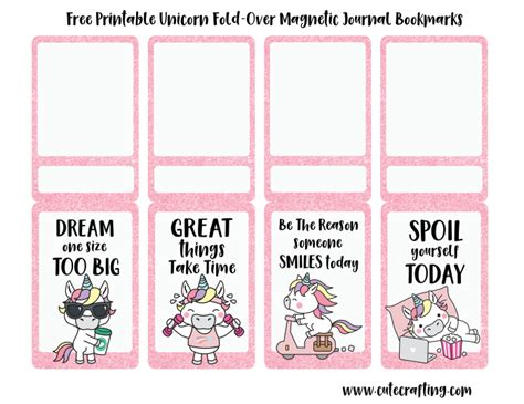 printable magnetic bookmarks free kawaii unicorn printable magnetic bookmarks