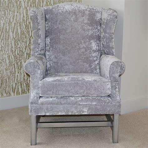 crushed velvet wingback chair bespoke argento crushed velvet wingback chair f d