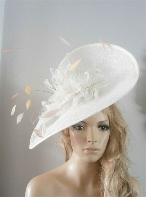 New Vintage Hats At Candysayscouk by Ivory Pink Saucer Fascinator Unquie New Vintage