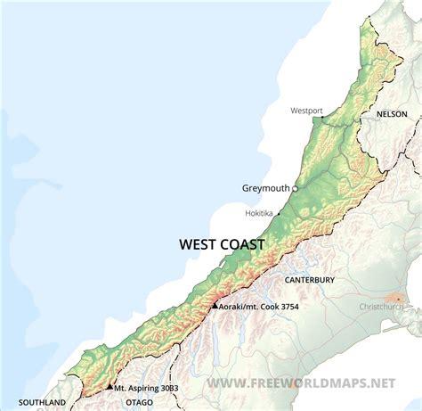 west coast maps nz