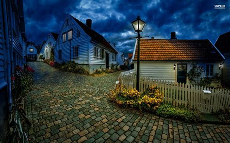 small villages street in small norwegian town wallpaper