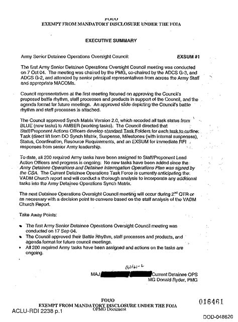 Memo Format Executive Summary dod memo executive summary on army senior detainee operations oversight council www