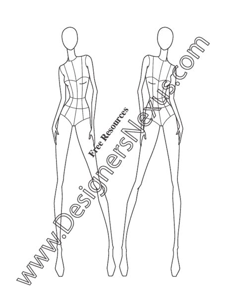 female fashion figure croquis template v29 front view