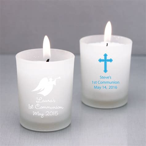 Candle Giveaways - first communion personalized candle holder favor first communion religious favors