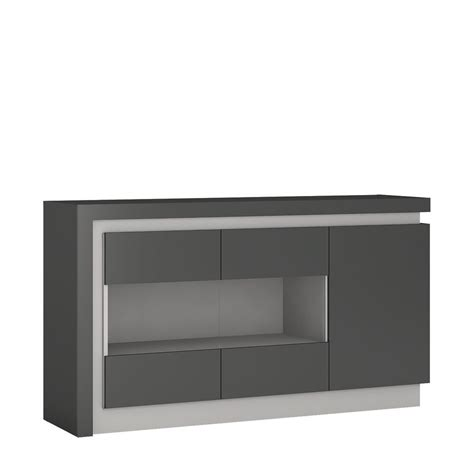 Grey high gloss sideboard with glass front   Homegenies