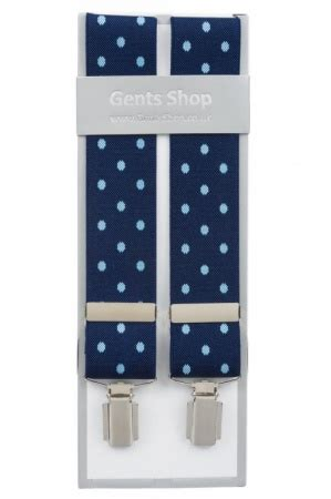 Huki Dot Orthodontic Size L 1 blue trouser braces with large light blue polka dot design gents shop