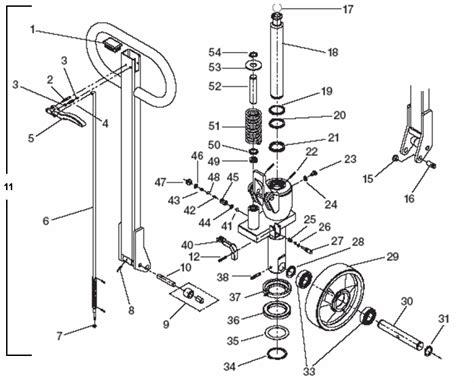 pallet parts diagram lift rite 174 lr0655 pallet truck schematic material