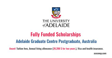 Fully Funded Mba Scholarships In Australia by Adelaide Graduate Centre Postgraduate Research