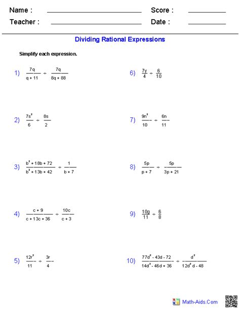Rational Expressions Worksheet Answers by Algebra 1 Worksheets Rational Expressions Worksheets