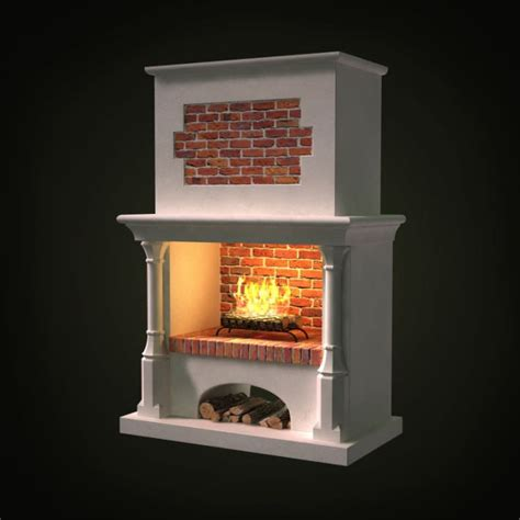 brick wall gas powered fireplace 3d model cgtrader