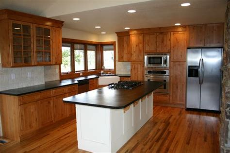Open Concept Kitchen Cabinets Lovely Open Concept Kitchen With Oak Cabinets Counters And Stainless Steel Appliances