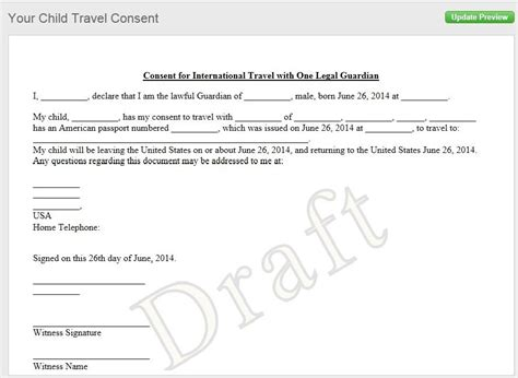 authorization letter for taking child out of country notarized letter of consent when traveling with a minor