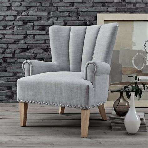 upholstered roll arm accent chair gray seat linen modern solid wood leg nailhead ebay