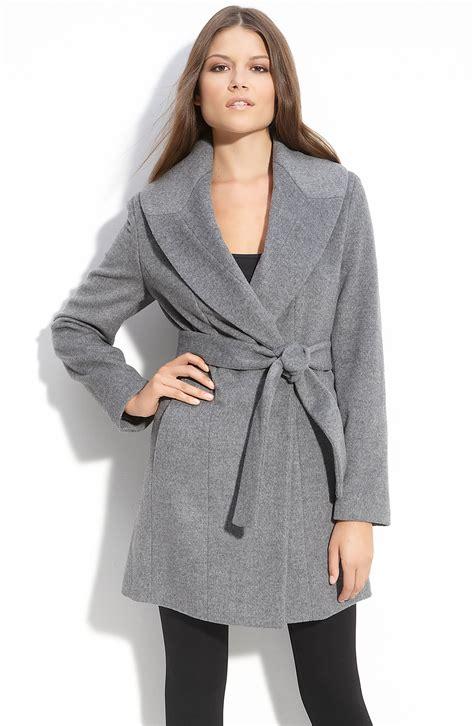 Shawl Collar Coat calvin klein shawl collar wrap coat in gray tin lyst
