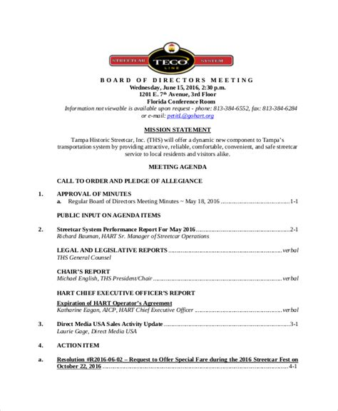 board of directors meeting agenda template 8 free word