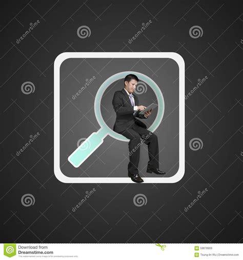sitting app businessman sitting on searching app icon using smart pad stock photo image 59878909