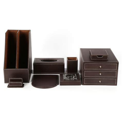 Set Of 8pcs Office Desk Decor Leather File Cabinet Pen Office Desk Organizer Sets