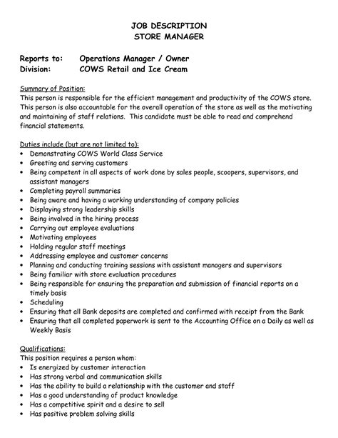 best photos of job description template sles pdf