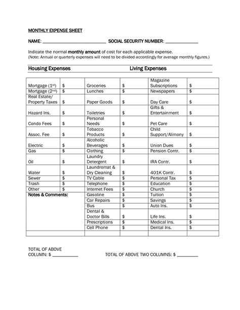 worksheet monthly living expenses worksheet caytailoc