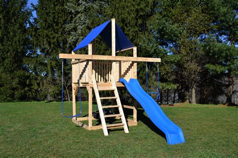 Small Backyard Swing Set by Cedar Swing Sets The Bailey Space Saver