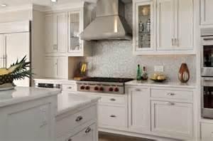 silver iridescent tile backsplash transitional kitchen