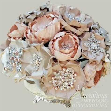 Handmade Wedding Bouquet - vintage wedding bouquet handmade custom vintage brooch