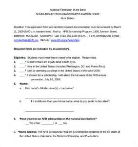 scholarship application template 15 scholarship application templates free sle