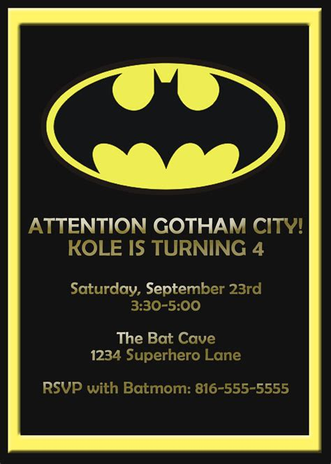 alluring batman birthday invitation template hd images for