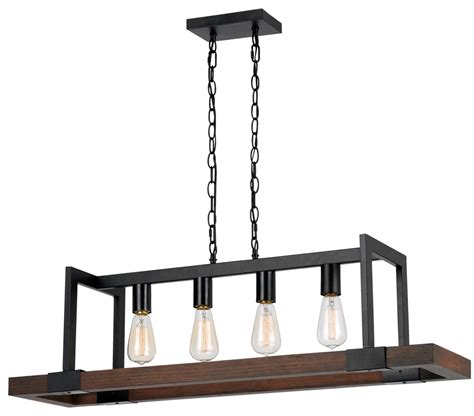 "Bronze Metal Wood Pendant 4 Lights 39""W #FX 3586 4"