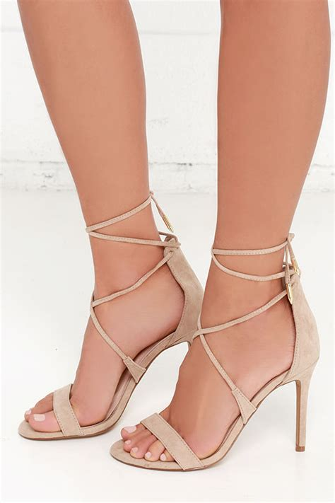 taupe color heels taupe heels lace up heels caged heels 36 00