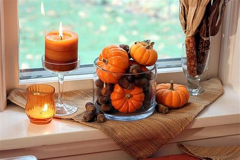 decorating window sills for fall pumpkins ahorns candles