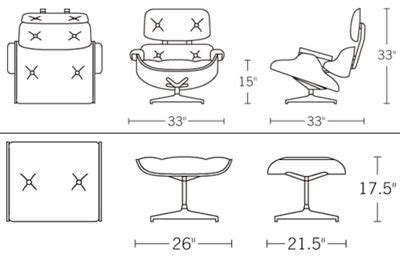 Eames Lounge Chair Dimensions by Herman Miller Eames Lounge Chair